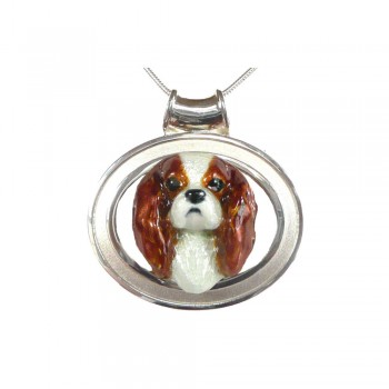 Cavalier King Charles Large Personalized Enamel on Bold Grooved Oval