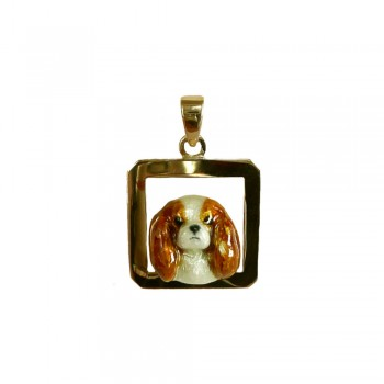 Cavalier King Charles Head with Enamel Artwork on Open Square