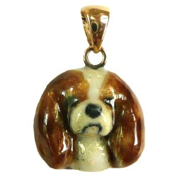 14K Gold Cavalier King Charles Small Head with Personalized Enamel Artwork