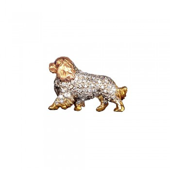14K Gold Large Trotting Cavalier King Charles Spaniel Pavé in Diamonds