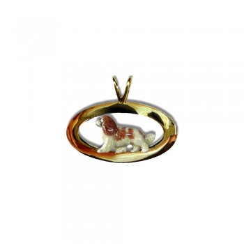 Cavalier King Charles with Enamel Artwork Trotting on Glossy Flat Oval