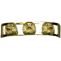 14K Gold Cavalier King Charles Cuff Bracelet Featuring Cavalier Heads with Black Diamond Eyes