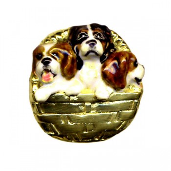 14K or Sterling Cavalier King Charles Puppies in Basket with Personalized Enamel Artwork