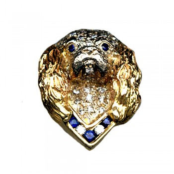 14K Gold Large Cavalier Head Pavé in Diamonds, with Gemstone Collar