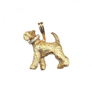 Large Trotting Airedale Terrier with Turned Head and Gemstone Collar in 14K Gold or Sterling Silver