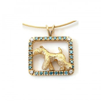 ONE of a KIND 14K Gold Welsh Terrier in Blue Diamond Frame with White Diamond Accents