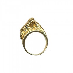 Airedale Terrier Head Wrap Ring in 14K Gold or Sterling Silver with Black Diamond Eyes