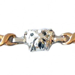 14K and Sterling Bulldog Head Bracelet with Comfort X Links