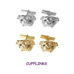 14K Gold or Sterling Silver Bulldog Cuff links with Black Diamond Eyes