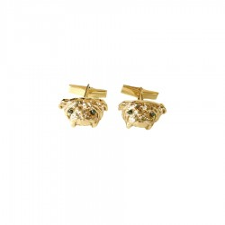 14K Gold or Sterling Silver Bulldog Cufflinks with Black Diamond Eyes