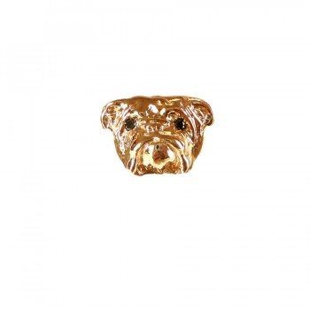 Large Bulldog Head with Black Diamond Eyes in 14K Gold or Sterling Silver