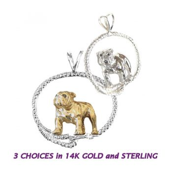 Gorgeous Standing Bulldog in Leash - 14K Gold, Sterling, or Combo