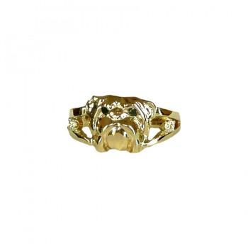 14K Gold or Sterling Silver Bulldog Ring with Precious Gemstones and Black Diamond Eyes