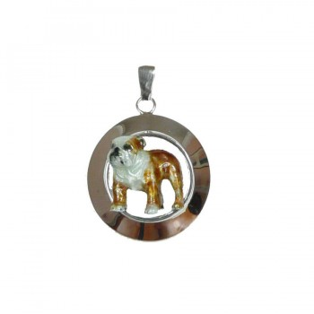 14K Gold or Sterling Silver Standing Bulldog on Wide Glossy Circle with Personalized Enamel Artwork