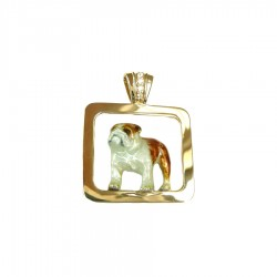 14K Gold Standing Bulldog on Glossy Frame with Diamonds and Personalized Enamel Artwork