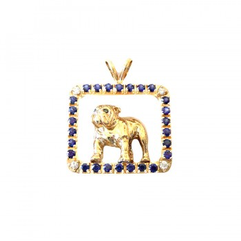 14K Gold Standing Bulldog in Gemstone Frame and Diamond Accents