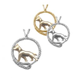 14K Gold and Sterling Silver American Staffordshire Terrier (Am Staff ) Pendant Trotting in Leash