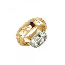 14K Gold or Sterling Raised Boxer Comfort Band Ring with 2 Gemstones