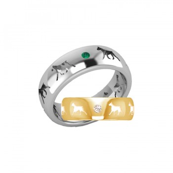 14K Gold or Sterling Boxer Cut Out Comfort Band Ring with 2 Gemstones