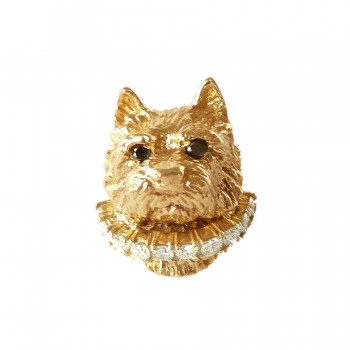 14K Gold Full Face Norwich Terrier with Full Diamond Collar and Black Diamond Eyes