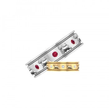 14K Gold Eternity Band Ring with Raised Westies and 8 Gemstones