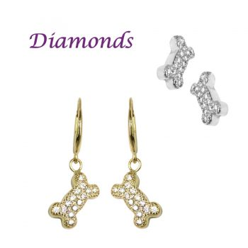 14K Gold Dog Bone Earrings Pavé with Brilliant Cut Diamonds