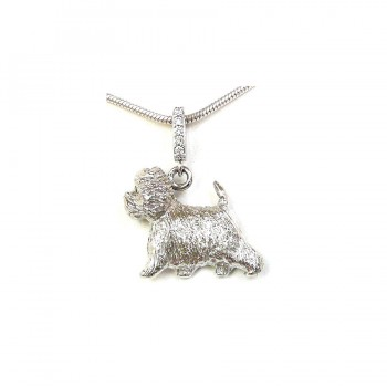 14K Gold West Highland White Terrier with Diamond Bail and Black Diamond Eyes