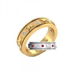14K Gold Eternity Band Ring with Raised Boxers and 8 Gemstones - 6 Gemstone Choices !