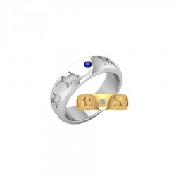 14K Gold or Sterling Comfort Band Ring with Recessed Westies and 2 Gemstones