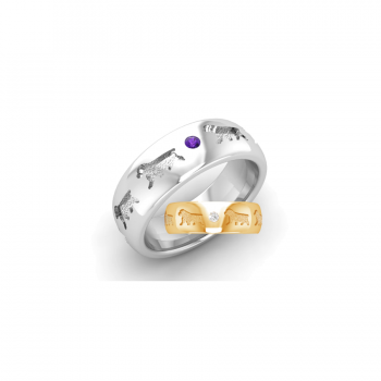 14K Gold or Sterling Comfort Band Ring with Recessed Clumber Spaniels and 2 Gemstones