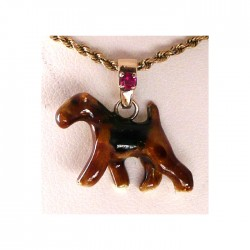 14K Gold Small Trotting Airedale with Personalized Enamel Artwork and Gemstone Highlight on Bail