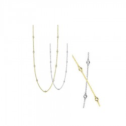 14K White or Yellow Gold Diamond Chain