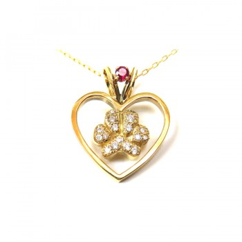 14K Gold Heart with Pavé Paw and Ruby Accent in Bail
