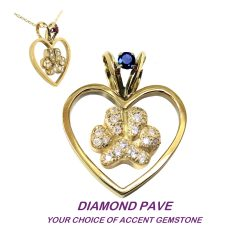 14K Gold Heart with Pavé Paw and Gemstone Accent in Bail