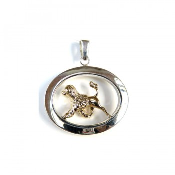 14K Gold and Sterling Portuguese Water Dog Showcased in Large Glossy Oval