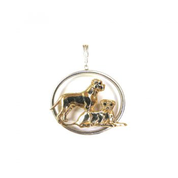 14K Gold Standing and Lying Bullmastiff in Sterling Narrow Oval