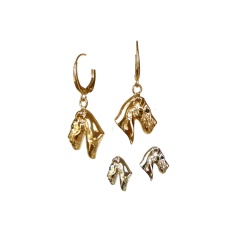 14K Gold or Sterling Airedale Earrings with Black Diamond Eye