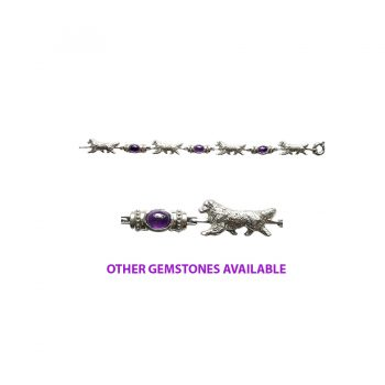 Golden Retriever Bracelet in Sterling Silver with Large Cabochon Amethyst Links