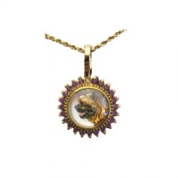 Vintage Reverse Intaglio Crystal Cairn Terrier in 14K Gold with Amethysts