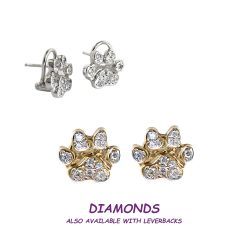 14K Gold Small Dog Paw Earrings Pavé in Diamonds, Sapphires, or Rubies