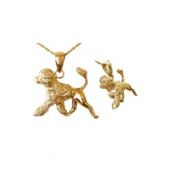 14K Full Sculpture Trotting Portuguese Water Dog Pendant