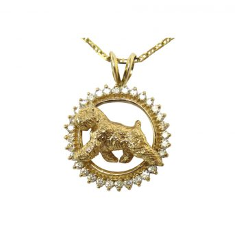 14K Gold Trotting Bouvier Trotting in All Diamonds or other Precious Gemstones