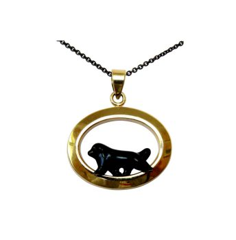 14K Gold or Sterling Newfoundland with Personalized Enamel Artwork in Narrow Glossy Oval