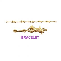14K Gold Running Westie Bracelet with Complementary Bone Links