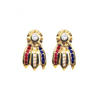14K Gold Best in Show Rosette Earrings with Diamonds, Sapphires, and Rubies