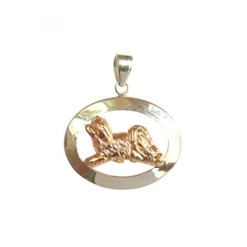 14K Gold or Sterling Havanese Trotting in Narrow Glossy Oval