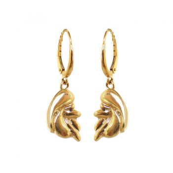 Stunning 14K Gold or Sterling Poodle Earrings with Black Diamond Eyes