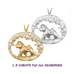 14K Gold One of a Kind Bichon in scene with Diamonds