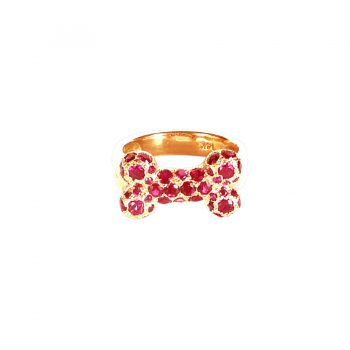 14K Gold Dog Bone Ring Crammed with Rubies