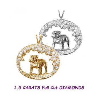 One of a Kind Stunning 14K Gold Diamond Scene with Standing Bulldog